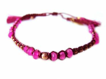 Armband Fiting magenta aus Edelsteinen, Fair Trade Indonesien