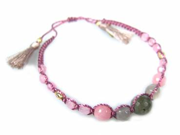 Armband Dora rose aus Edelsteinen, Fair Trade Indonesien