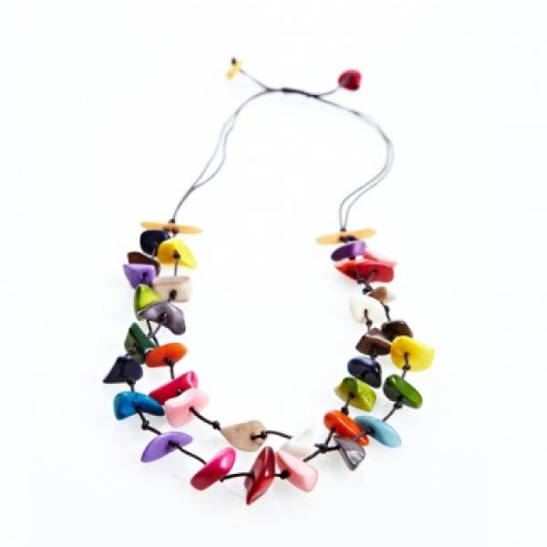 Zara Kette bunt aus Tagua, Fair Trade Kolumbien